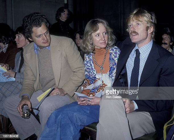 Harry Chapin actor Robert Redford and Lola Redford attend A Future With Alternatives Benefit on May 5 1978 at St John the Divine Cathedral in New...