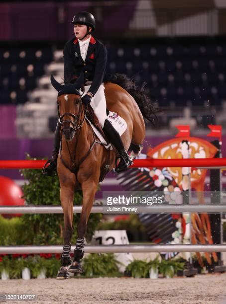 Harry Charles of Team Great Britain riding Romeo 88 competes during the Jumping Individual Qualifier on day eleven of the Tokyo 2020 Olympic Games at...