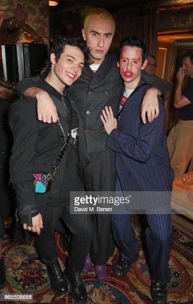 Harry Charlesworth Charles Jeffrey and Scotty Sussman attend The Fashion Awards 2017 nominees party in partnership with Swarovski at 5 Hertford...