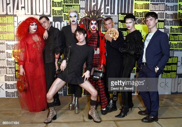 Harry Charlesworth Charles Jeffrey Sussi and Jack Appleyard with guests attending as Dazed ck one celebrate the launch of The Dazed100 on April 6...