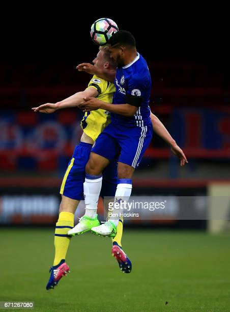 Harry Charsley of Everton and Cole Dasilva of Chelsea battle for an aerial ball during the Premier League 2 match between Chelsea and Everton on...