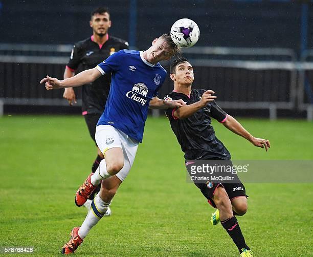 Harry Charsley of Everton and Ignacio Ruiz Lluch of Espanyol during the NI Super Cup U21 football match between Everton and Espanyol at Coleraine...