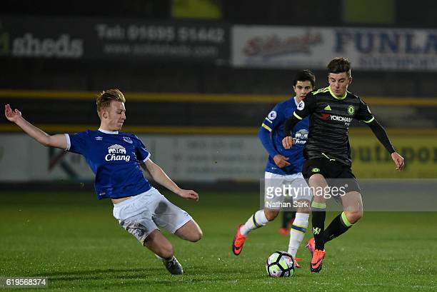 Harry Charsley of Everton and Mason Mount of Chelsea in action during the Premier League 2 match between Everton U21s and Chelsea U21s at Haig Avenue...