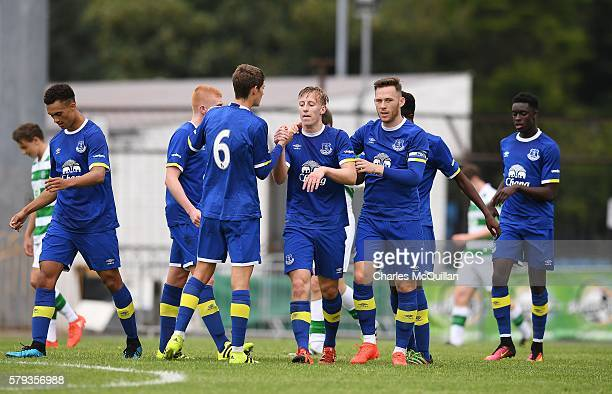 Harry Charsley of Everton celebrates after scoring during the Super Cup NI under 21 final at Ballymena Showgrounds on July 23 2016 in Ballymena...
