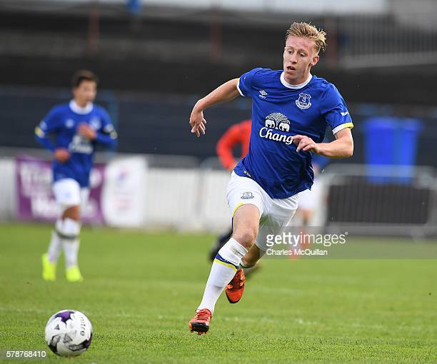 Harry Charsley of Everton during the NI Super Cup U21 football match between Everton and Espanyol at Coleraine Showgrounds on July 21 2016 in...