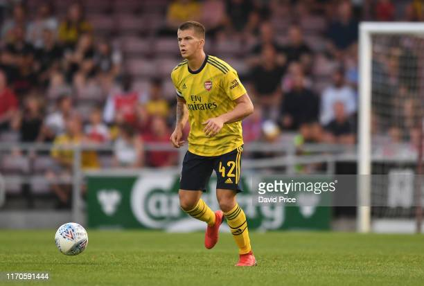 Harry Clarke of Arsenal during the Leasingcom match between Northampton Town and Arsenal U21 at PTS Academy Stadium on August 27 2019 in Northampton...