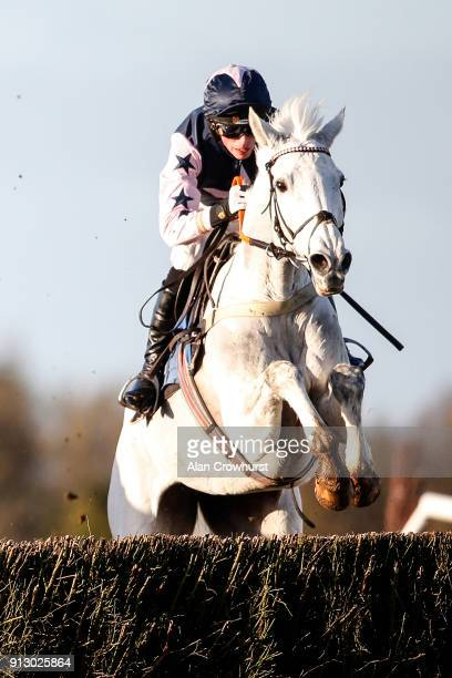 Harry Cobden rides Grand Vision clear the last to win The Dick Hunt Handicap Steeple Chase at Wincanton racecourse on February 1 2018 in Wincanton...