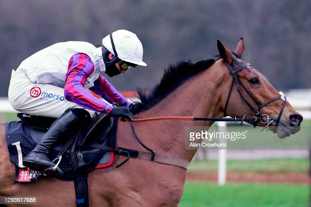 Harry Cobden riding Bravemansgame clear the last to win The MansionBet Challow Novices' Hurdle at Newbury Racecourse on December 29, 2020 in Newbury,...