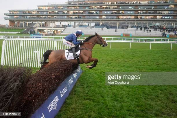 Harry Cobden riding Capeland clear the last to win The Gerard Bertrand Hurst Park Handicap Chase at Ascot Racecourse on November 23, 2019 in Ascot,...