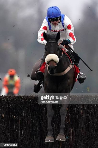 Harry Cobden riding Clan des Obeaux clear the last to win The 32Red King George VI Chase at Kempton Park on December 26, 2018 in Sunbury, England.