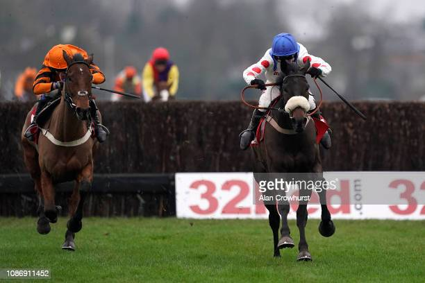 Harry Cobden riding Clan des Obeaux clear the last to win The 32Red King George VI Chase from Tom Scudamore and Thistlecrack at Kempton Park on...