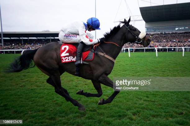Harry Cobden riding Clan des Obeaux clear the last to win The 32Red King George VI Chase at Kempton Park on December 26 2018 in Sunbury England