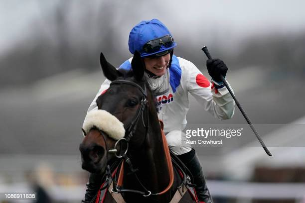 Harry Cobden riding Clan des Obeaux win The 32Red King George VI Chase at Kempton Park on December 26 2018 in Sunbury England