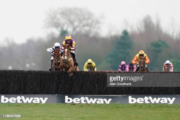 Harry Cobden riding Copperhead clear the last to win The Betway Heed Your Hunch Handicap Hurdle at Newbury Racecourse on December 28 2019 in Newbury...
