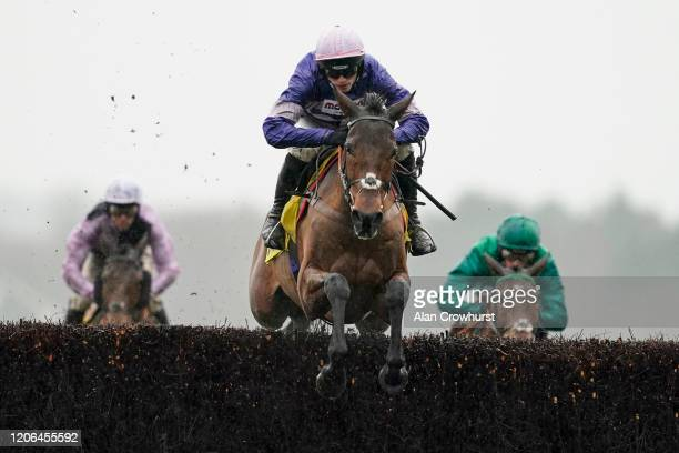 Harry Cobden riding Cyrname in action during The Betfair Ascot Chase at Ascot Racecourse on February 15 2020 in Ascot England