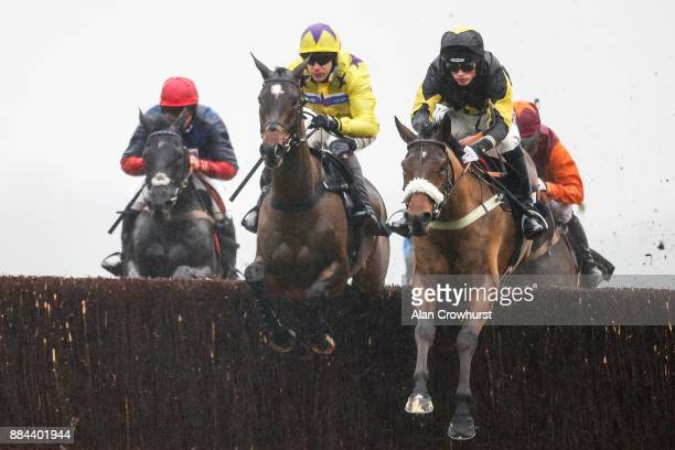 Harry Cobden riding Elegant Escape on their way to winning The Ladbrokes John Francome Novices Steeple Chase at Newbury racecourse on December 2 2017...