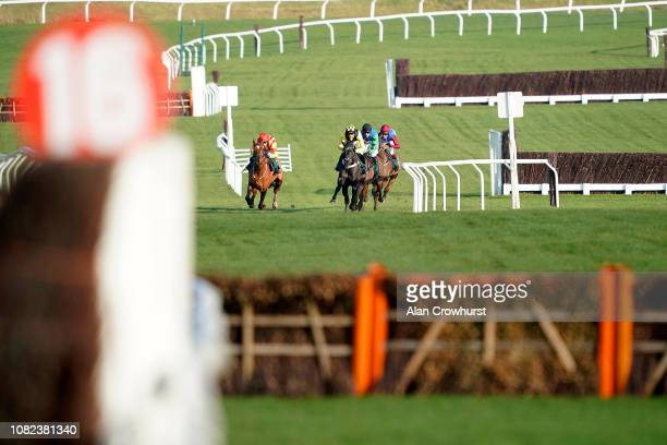 Harry Cobden riding Elixir De Nutz approach the last before winning The British Stallion Studs EBF 'National Hunt' Novices' Hurdle at Cheltenham...
