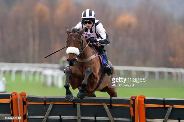 Harry Cobden riding Eritage clear the last to win The Annual Membership 2020 Available Today 'National Hunt' Novices' Hurdle at Taunton Racecourse on...