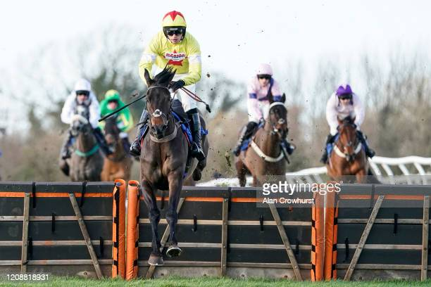 Harry Cobden riding Fidelio Vallis clear the last to win The Watch On Racing TV Novices' Hurdle at Wincanton Racecourse on February 26 2020 in...