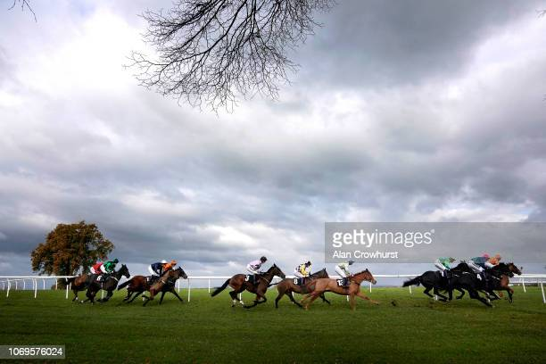 Harry Cobden riding Getaway Trump on their way to winning The Strong Flavours Catering Novices' Hurdle at Plumpton Racecourse on November 19 2018 in...