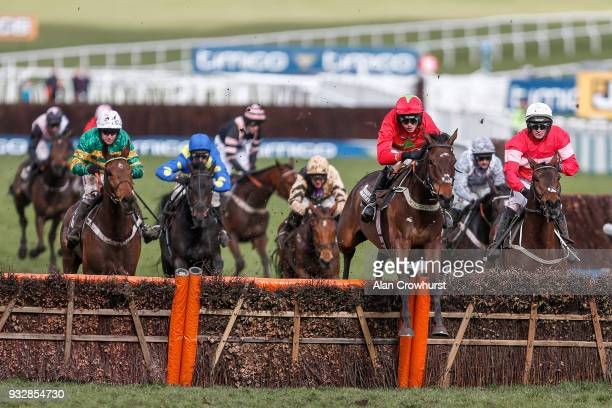 Harry Cobden riding Kilbricken Storm clear the last to win The Albert Bartlett Novices' Hurdle Race at Cheltenham racecourse on Gold Cup Day on March...