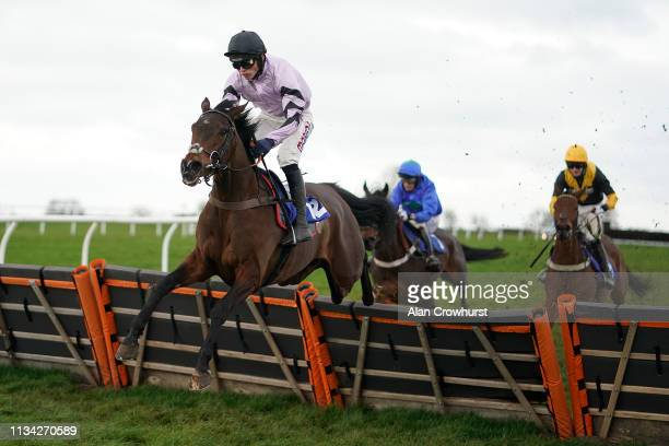 Harry Cobden riding Miranda clear the last to win The All Sport Insurance Mares' Novices' Hurdle at Wincanton Racecourse on March 07 2019 in...