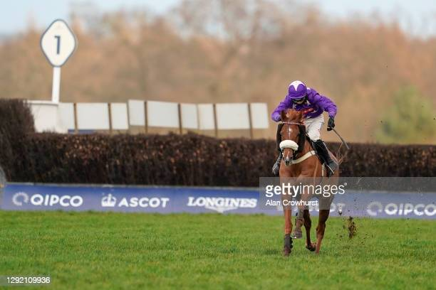 Harry Cobden riding Mister Malarky bypass the last fence to win The Good Luck Hollie In SPOTY Silver Cup Handicap Chase at Ascot Racecourse on...
