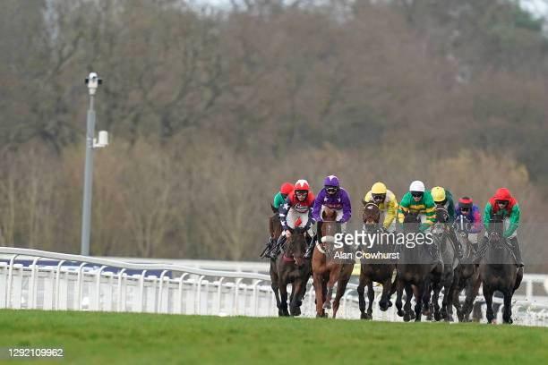 Harry Cobden riding Mister Malarky on their way to winning The Good Luck Hollie In SPOTY Silver Cup Handicap Chase at Ascot Racecourse on December...