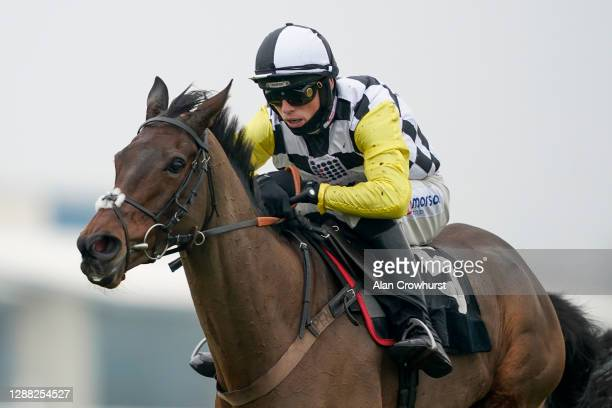 Harry Cobden riding Next Destination clear the last to win The Ladbrokes John Francome Novices' Chase at Newbury Racecourse on November 28, 2020 in...