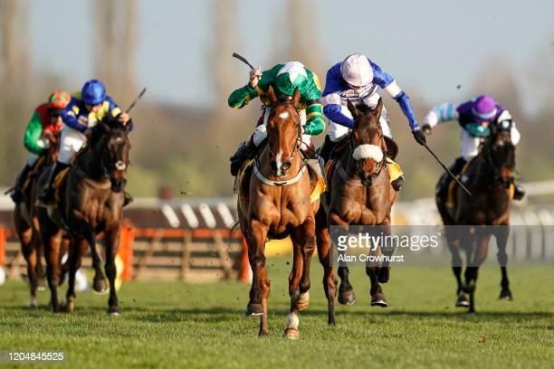 Harry Cobden riding Pic D'Orhy clear the last to win The Betfair Hurdle at Newbury Racecourse on February 08 2020 in Newbury England