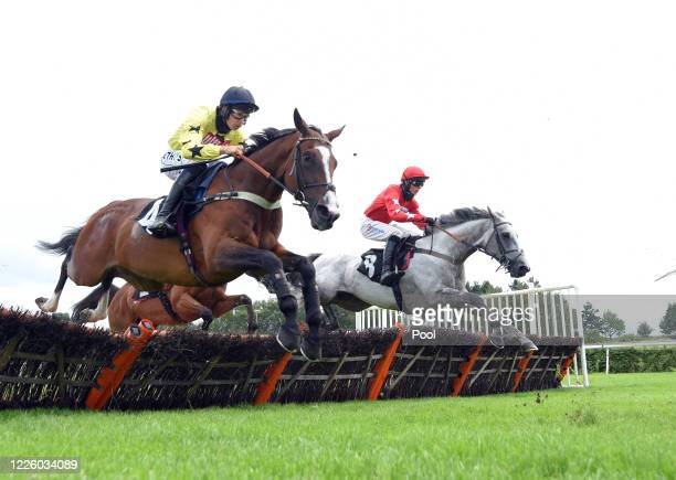 Harry Cobden riding Red Force One on way to winning Betway Summer Handicap Hurdle at Market Rasen Racecourse on July 10, 2020 in Market Rasen,...