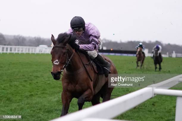 Harry Cobden riding Sabrina win The British EBF Mares' Standard Open NH Flat Race at Ascot Racecourse on February 15 2020 in Ascot England