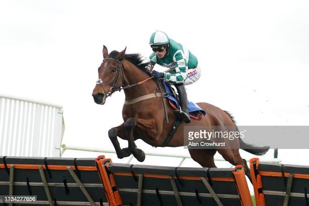 Harry Cobden riding Storm Arising clear the last to win The Follow Us On Twitter At starsports_bet Maiden Hurdle at Wincanton Racecourse on March 07...