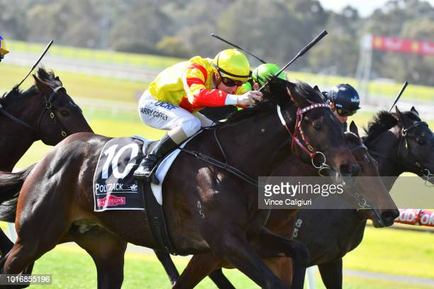 Harry Coffey riding Approach Discreet after winning Race 1 during Melbourne Racing at Sandown Hillside on August 15 2018 in Melbourne Australia