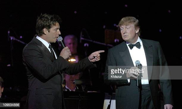 Harry Connick Jr. And Donald Trump during Entertainment Industry Foundation's Colon Cancer Benefit on the QM2 - Show at Queen Mary 2 in New York...