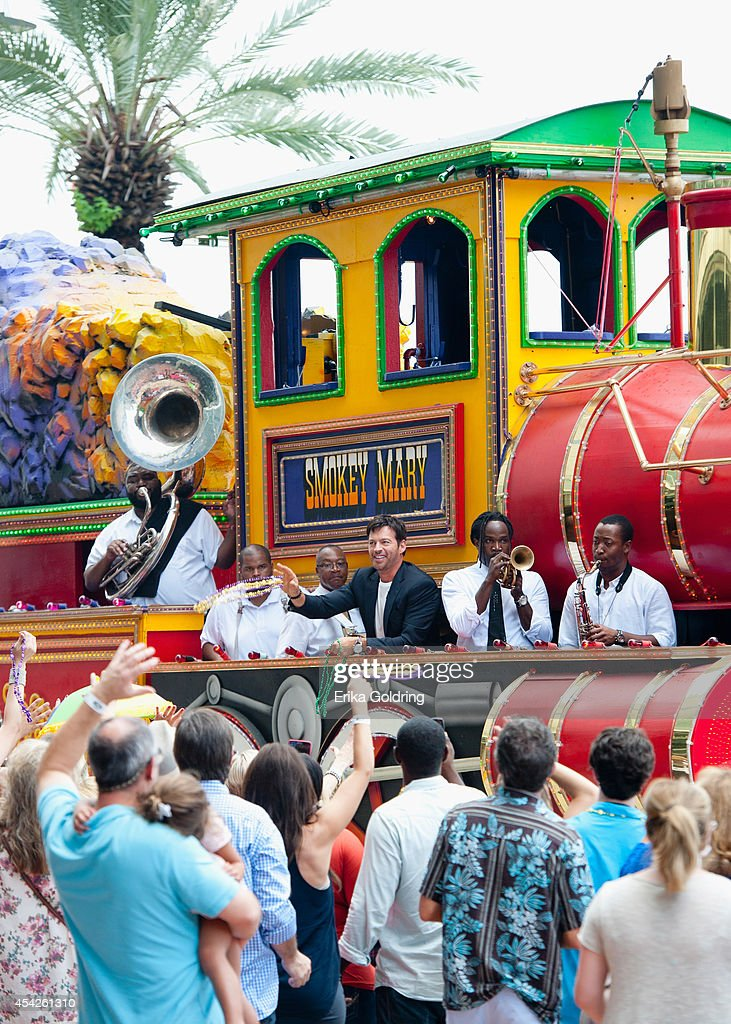Harry Connick, Jr. and True Orleans Brass Band arrive at the Ernest N. Morial Convention Center on a Mardi Gras float on August 27, 2014 in New Orleans, Louisiana.