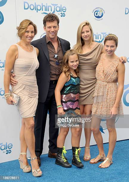Harry Connick Jr Jill Goodacre daughters Georgia Sarah and Charlotte arrive at the World Premiere of Dolphin Tale at the Village Theatre on September...