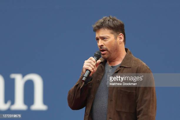 """Harry Connick, Jr. Performs """"America the Beautiful"""" before the Men's Singles final match on Day Fourteen of the 2020 US Open at the USTA Billie Jean..."""
