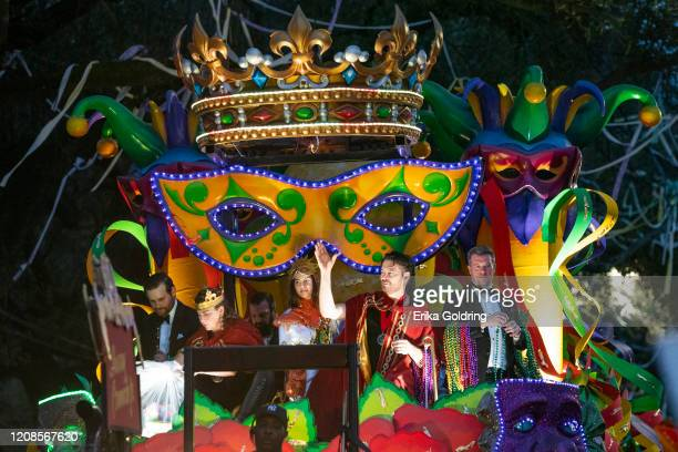 Harry Connick, Jr., second from right, leads the 2020 Krewe of Orpheus parade that takes place on the traditional Uptown parade route on February 24,...