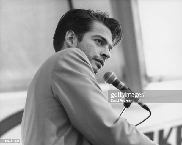 Harry Connick Jr US singer and actor on stage during a live concert performance at the New Orleans Jazz and Heritage Festival in New Orleans...