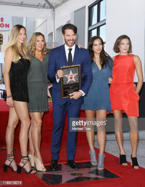 Harry Connick Jr with his wife Jill Goodacre and his daughters Georgia Tatum Connick Sarah Kate Connick and Charlotte Connick attends the ceremony...