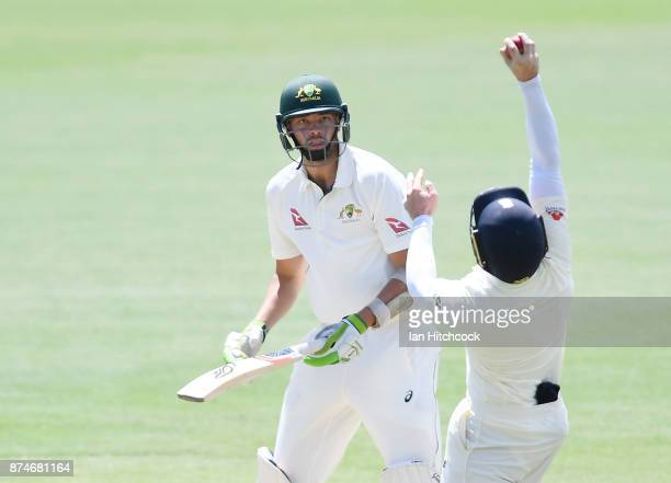 Harry Conway of CA XI is caught out by Mark Stoneman of England during day 2 of the four day tour match between Cricket Australia XI and England at...