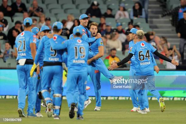 Harry Conway of the Adelaide Strikers celebrates after dismissing Aaron Finch of the Renegades during the Big Bash League match between the Melbourne...
