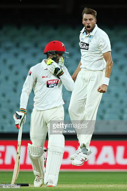 Harry Conway of the NSW Blues celebrates after getting the wicket of Alex Carey of the SA Redbacks during day three of the Sheffield Shield match...