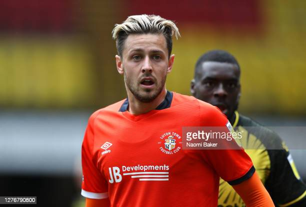Harry Cornick of Luton Town looks on during the Sky Bet Championship match between Watford and Luton Town at Vicarage Road on September 26 2020 in...