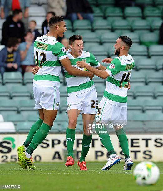 Harry Cornick of Yeovil Town celebrates his first sides goal during the Sky Bet League Two match between Yeovil Town and Morecambe at Huish Park on...