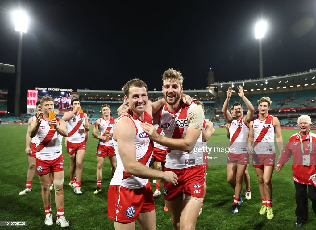 Harry Cunningham and Alex Johnson of the Swans celebrate after the round 20 AFL match between the Sydney Swans and the Collingwood Magpies at Sydney Cricket Ground on August 4, 2018 in Sydney, Australia.