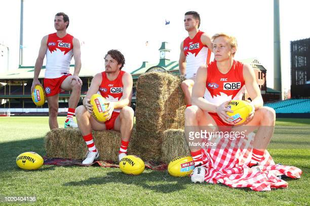 Sydney coach John Longmire speaks to the media at the Footy for Drought Relief initiative press call during a Sydney Swans AFL media opportunity at...
