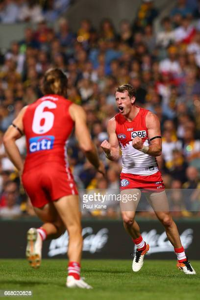 Harry Cunningham of the Swans celebrates a goal during the round four AFL match between the West Coast Eagles and the Sydney Swans at Domain Stadium...
