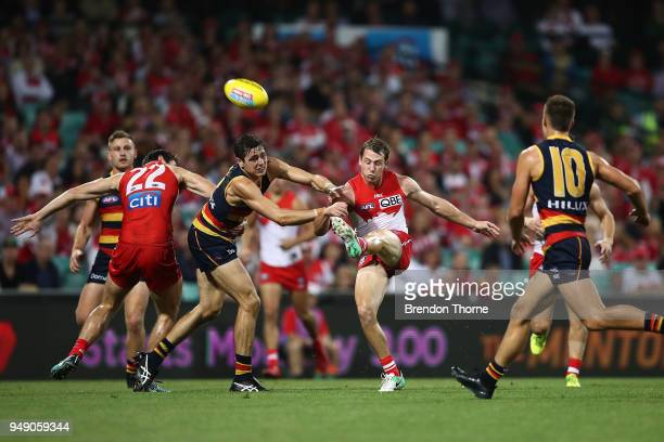 Harry Cunningham of the Swans kicks during the round five AFL match between the Sydney Swans and the Adelaide Crows at Sydney Cricket Ground on April...